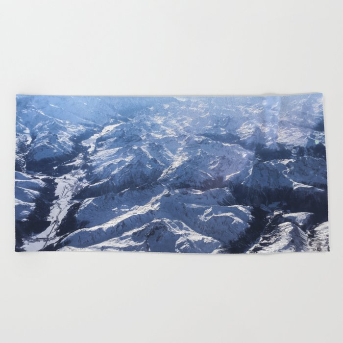 White mountains with snow winter nature Beach Towel