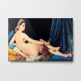 Jean Auguste Dominique Ingres (French, 1780 - 1867) - Title: THE GRANDE ODALISQUE - Date: 1814 - Style: Neoclassicism, Orientalism - Genre: Nude painting - Media: Oil on canvas - Digitally Enhanced Version (1500 dpi) - Metal Print