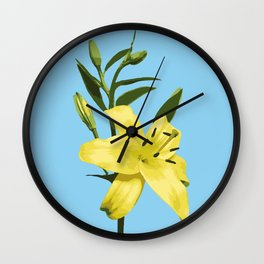 Yellow Lily on Sky Blue Background Illustrated Print Wall Clock