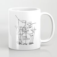drums Mugs featuring The Police Drums by OUTSIDE VOICE