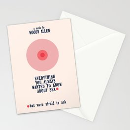 Woody Allen minimalist movie poster, alternative playbill, everything you wanted to know about sex Stationery Cards