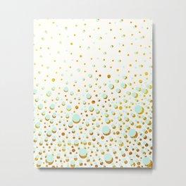 Polka dots Mint - gold Metal Print
