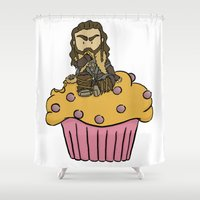 thorin Shower Curtains featuring Thorin & the Muffin by The Psychowl