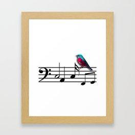 Bird on Music Sheet Framed Art Print