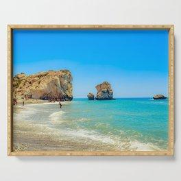 Cyprus Beach Scene Serving Tray