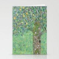 gustav klimt Stationery Cards featuring Gustav Klimt - Rosebushes under the Trees by TilenHrovatic