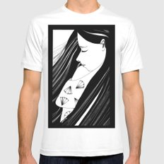 Sombre MEDIUM White Mens Fitted Tee