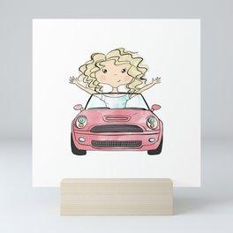 Girl Driving A Car Mini Art Print