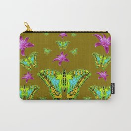 PURPLE LILIES BLUE-GREEN-YELLOW PATTERNED MOTHS Carry-All Pouch