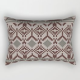 Christmas knitted pattern vector illustration of a seamless blue, red and white background Rectangular Pillow