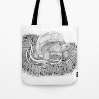 tortoise Tote Bags featuring Tortoise by Squidoodle