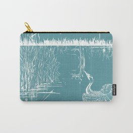 Orienal Exotic Heron & Birds on a Lake Print - Blue Carry-All Pouch