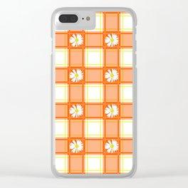 Daisies on Orange Plaid Clear iPhone Case
