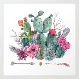 Watercolor cactus, succulent, flowers, twigs, feathers Art Print