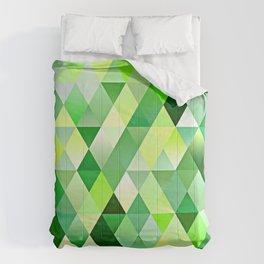 Lime Green Yellow White Diamond Triangles Mosaic Pattern Comforters