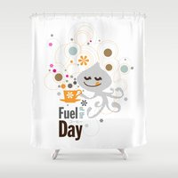 pocket fuel Shower Curtains featuring Fuel of  the day by inkdesigner