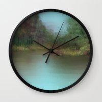 lake Wall Clocks featuring Lake by Turul