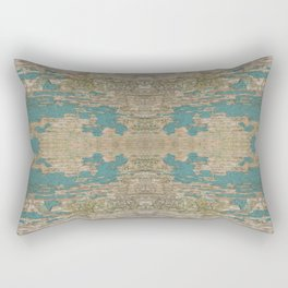 Rustic Wood - Weathered Wooden Plank - Beautiful knotty wood weathered turquoise paint Rectangular Pillow