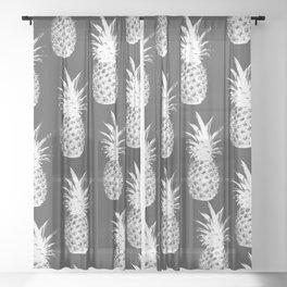 Pineapple Pattern - Dark Grey Sheer Curtain