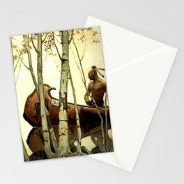 "N C Wyeth Vintage Western Painting ""Birchbark Canoe"" Stationery Cards"