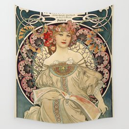 F. Champenois Alphonse Mucha - printer lithographer - peasant woman - neoclassical gown Egyptian - floral motifs hair - Ad Wall Decor Print Wall Tapestry