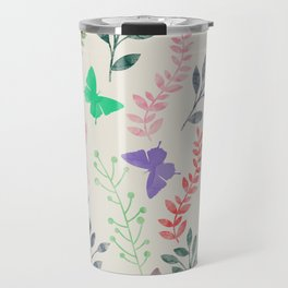Watercolor flowers & butterflies Travel Mug