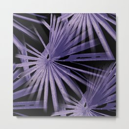 Violet On Black Tropical Vibes Beach Palmtree Vector Metal Print