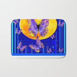 Lilac Patterned Butterfly Full Moon Abstract Bath Mat