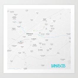 Minimalist Modern Map of Damascus, Syria 1A Art Print