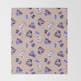 Vintage Mushrooms in Electric Violet + Tan Throw Blanket