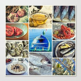 Seafood Collage Cafe Kitchen Decor Canvas Print