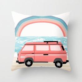 Van Life II - rainbow beach van road tripping travel camping bus RV art Throw Pillow