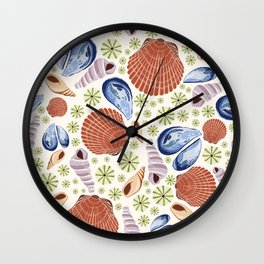Summer Seashells Orange Wall Clock