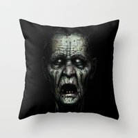 zombie Throw Pillows featuring Zombie by Havard Glenne