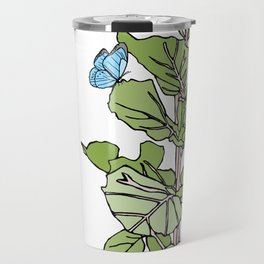 Lined Fig Tree and Blue Butterfly Travel Mug