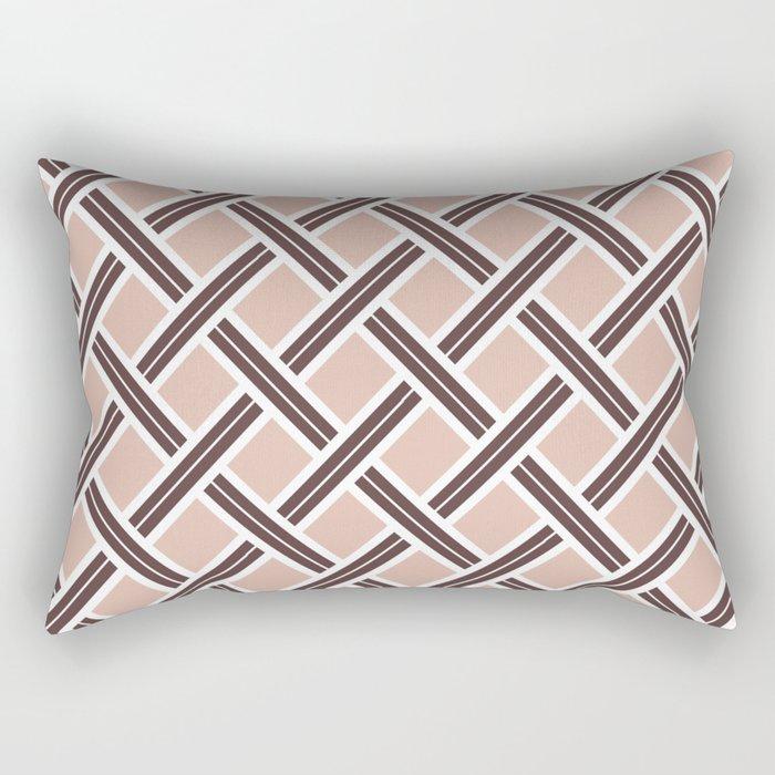 Modern Open Weave Pattern in Neutrals and Plums Rectangular Pillow