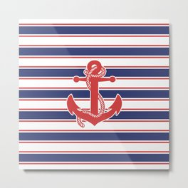 Sailor Stripes and Anchor Pattern 13 Metal Print