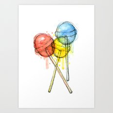 Lollipop Red Blue Yellow Candy Food Watercolor Art Print