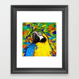 Gold and Blue Macaw Parrot Fantasy Framed Art Print