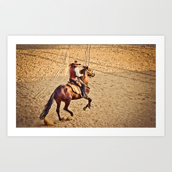 Cowboy in the sunset Art Print