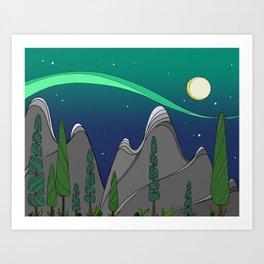 Moonlight on the Mountain Art Print