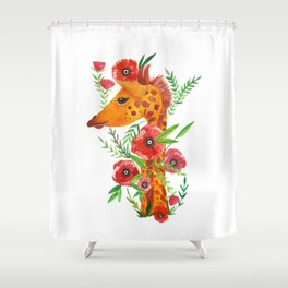 Giraffe with poppies illustration Shower Curtain