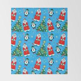 Santa and Penguins Throw Blanket