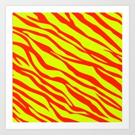 Cherry Red And Sunshine Yellow Zebra Stripes Art Print
