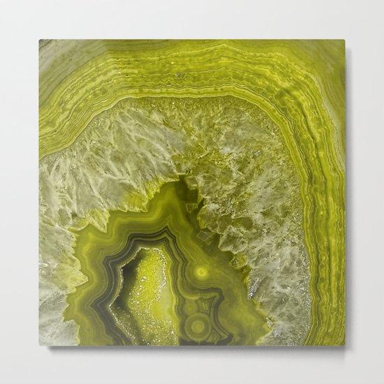 Green pantone agate mineral gem stone- Beautiful backdrop Metal Print