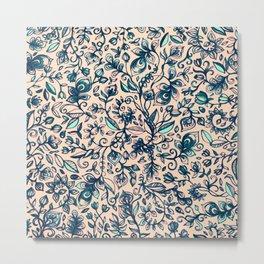 Teal Garden - floral doodle pattern in cream & navy blue Metal Print