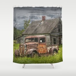 Old Vintage Pickup in front of an Abandoned Farm House Shower Curtain