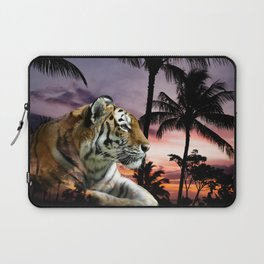 Tropical Tiger in Purple Sunset Laptop Sleeve