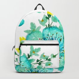 Teal Fantasy Poppies Backpack