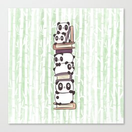 PILE OF PANDAS AND BOOKS Canvas Print